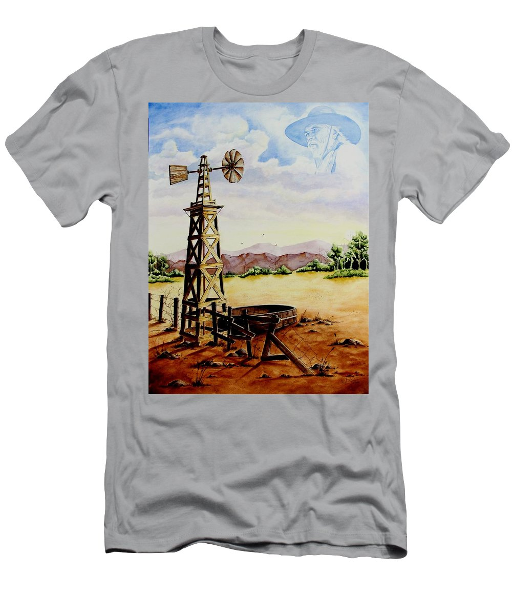 Actor Men's T-Shirt (Athletic Fit) featuring the painting Lonesome Prairie by Jimmy Smith