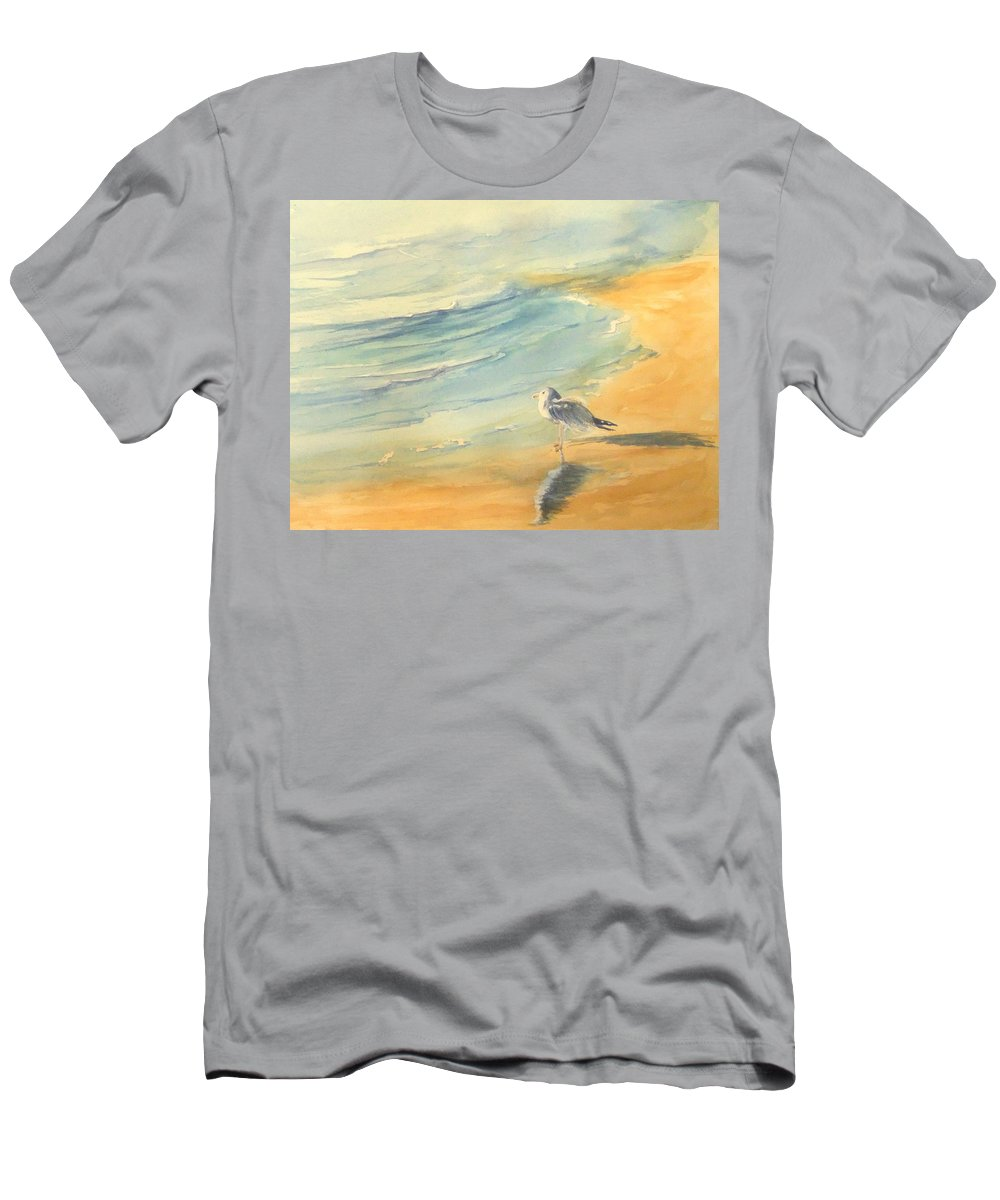 Watercolor Men's T-Shirt (Athletic Fit) featuring the painting Long Beach Bird by Debbie Lewis