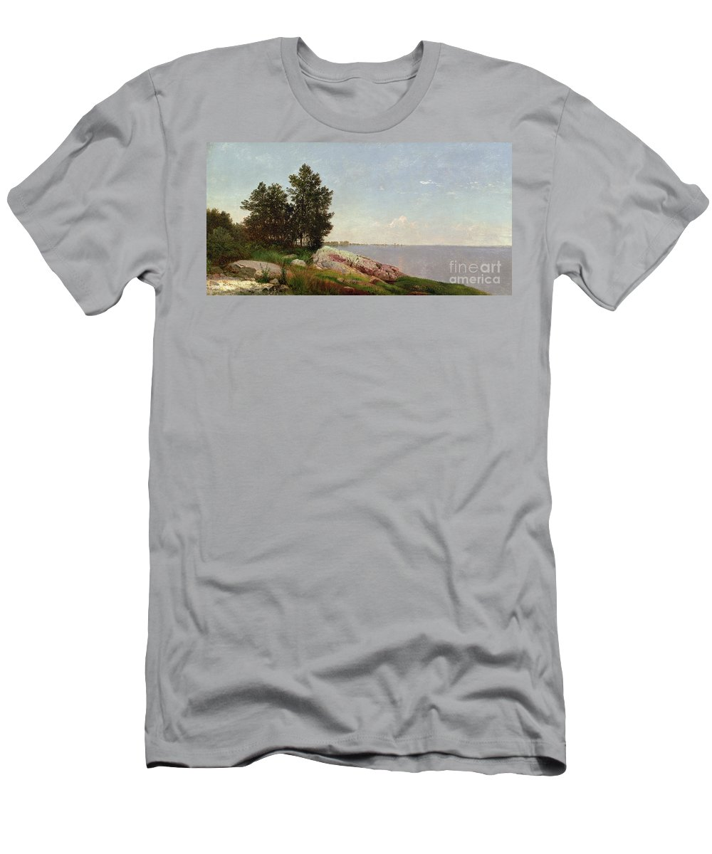 Long Island Sound At Darien (oil On Canvas) Long Island Sound At Darien (oil On Canvas) Men's T-Shirt (Athletic Fit) featuring the painting Long Island Sound At Darien by John Frederick Kensett