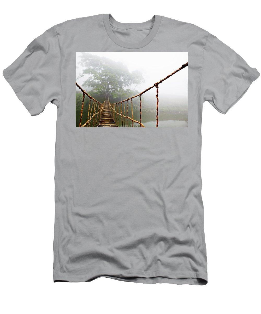 Jungle Journey Bridge Men's T-Shirt (Athletic Fit) featuring the photograph Long Rope Bridge by Skip Nall