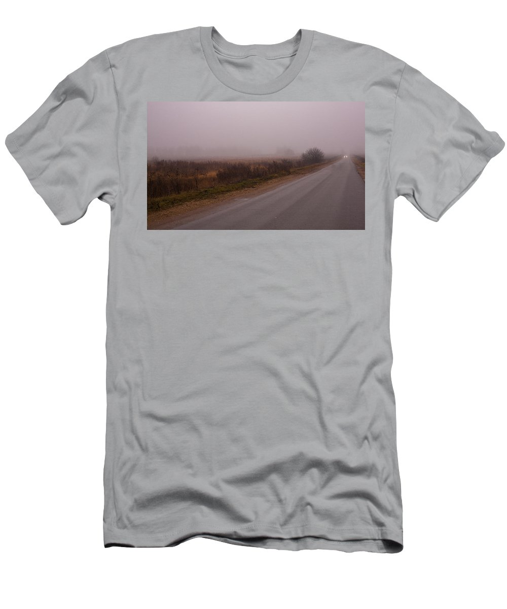 Long Way Home By Car In The Fog Men's T-Shirt (Athletic Fit) featuring the photograph Long Way Home By Car In The Fog by Anna Matveeva