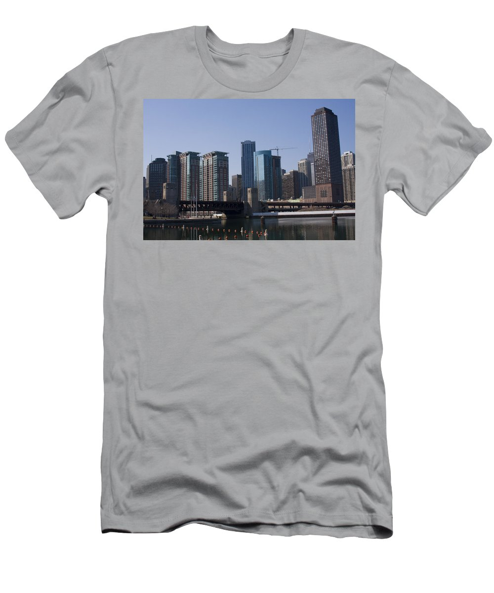 Chicago Windy City Building Tall High Big Skyscraper Water River Lake Michigan Blue Sky Metro Urban Men's T-Shirt (Athletic Fit) featuring the photograph Looking Into The City by Andrei Shliakhau