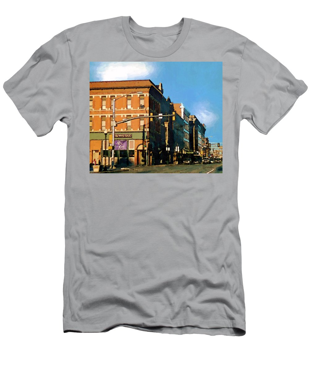Buildings Men's T-Shirt (Athletic Fit) featuring the painting Looking Up Main Street by RC deWinter