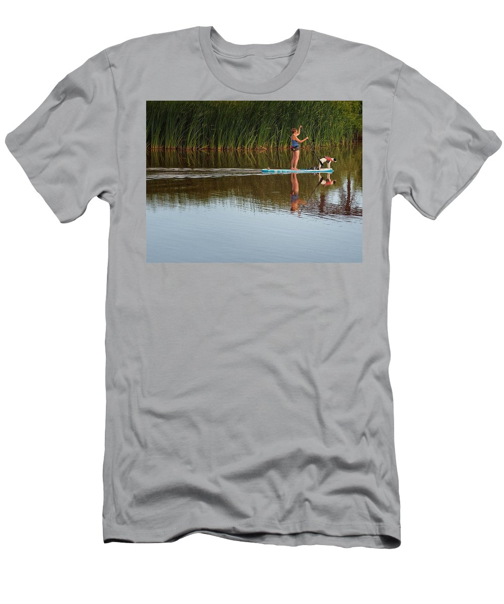 Lake Overholser Men's T-Shirt (Athletic Fit) featuring the photograph Lookout Dog by Buck Buchanan