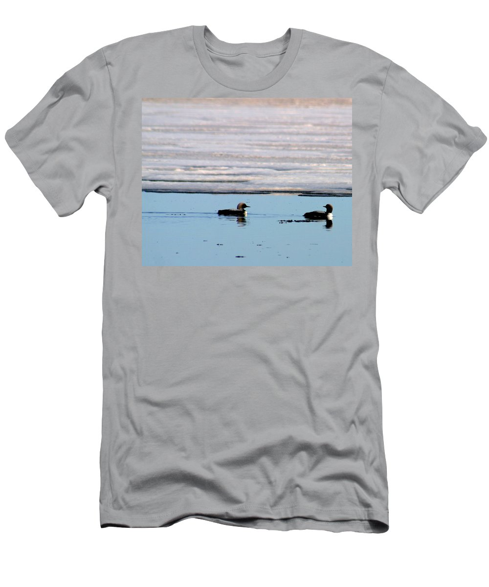 Loons Men's T-Shirt (Athletic Fit) featuring the photograph Loon On The Arctic by Anthony Jones