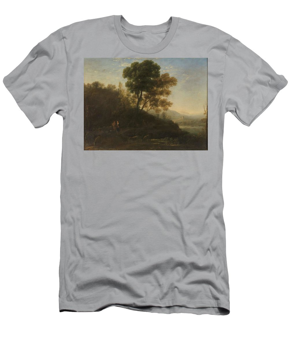 Nature Men's T-Shirt (Athletic Fit) featuring the painting Lorena, Claudio De Chamagne, 1600 - Roma, 1682 Setting Out With The Herd 1636 - 1637 by LORENA CLAUDIO DE Chamagne