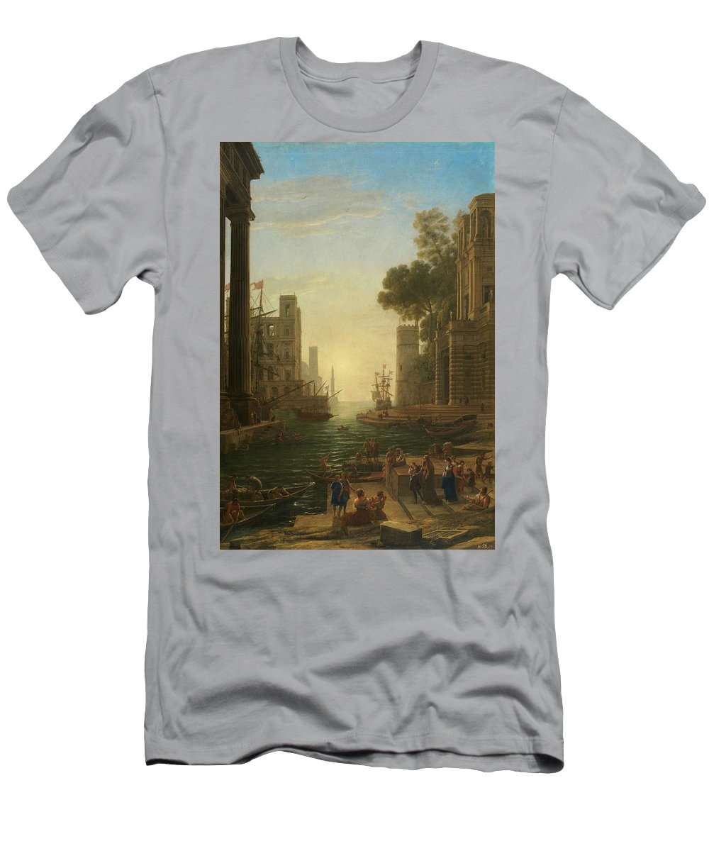 Nature Men's T-Shirt (Athletic Fit) featuring the painting Lorena, Claudio De Chamagne, 1600 - Roma, 1682 The Embarkation Of Saint Paula Ca. 1639. by LORENA CLAUDIO DE Chamagne