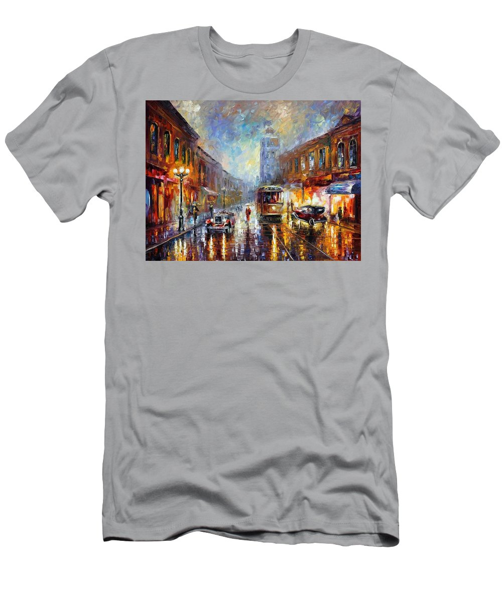 Afremov Men's T-Shirt (Athletic Fit) featuring the painting Los Angeles 1920 by Leonid Afremov