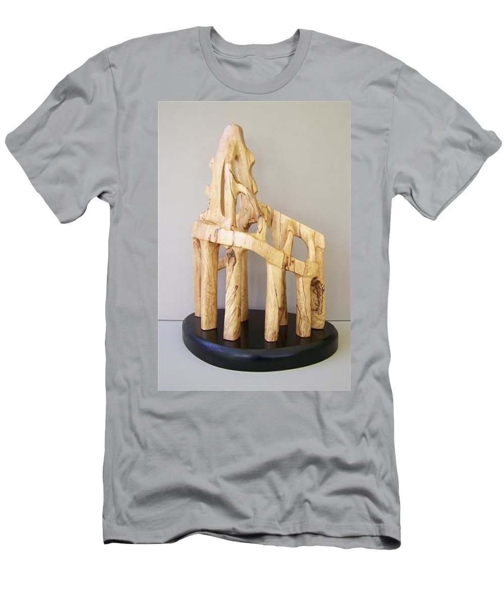 Wood-carving-sculpture-abstract- Men's T-Shirt (Athletic Fit) featuring the sculpture Lost Glory by Norbert Bauwens