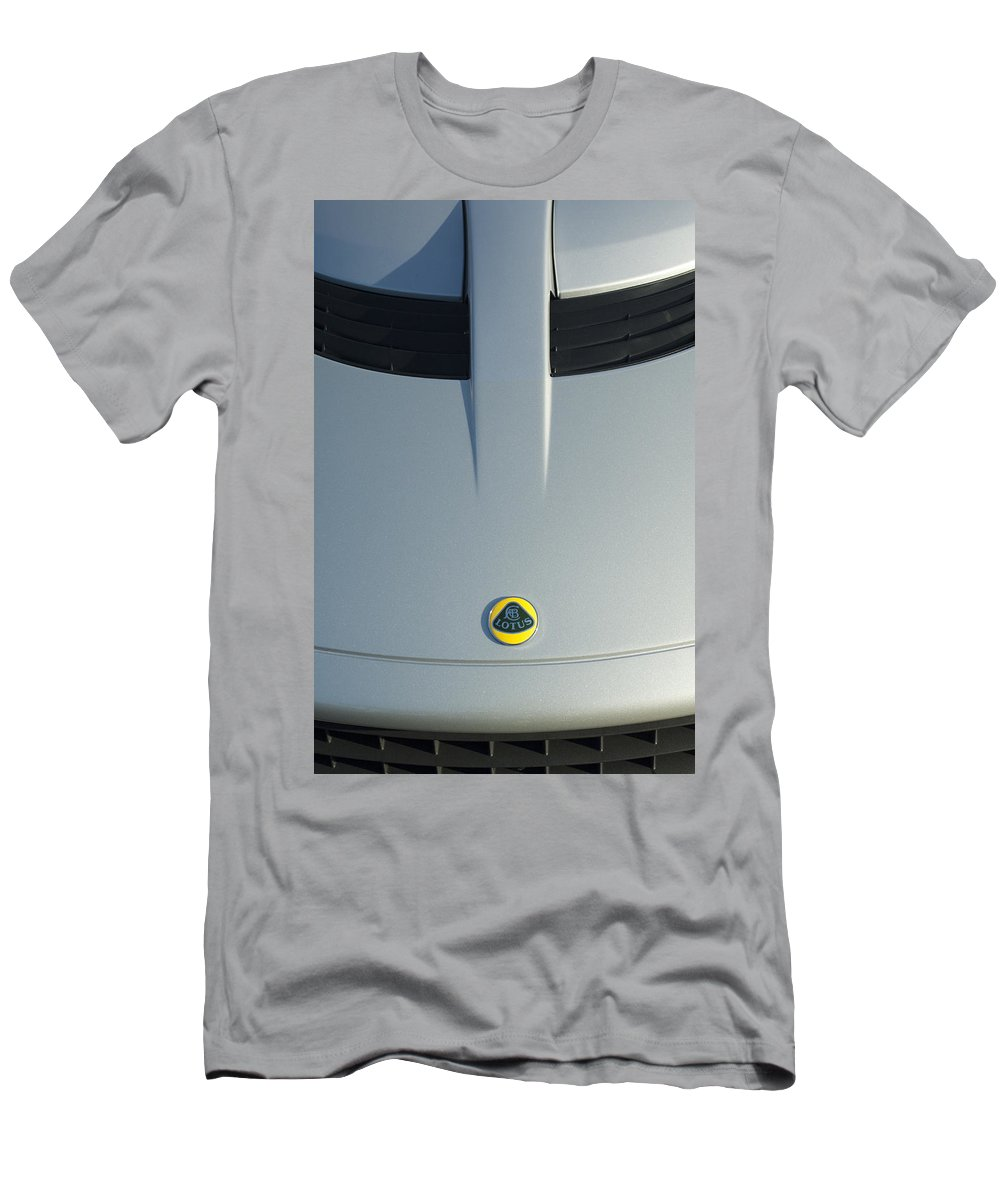 Lotus Elise Men's T-Shirt (Athletic Fit) featuring the photograph Lotus Elise Hood Emblem 2 by Jill Reger