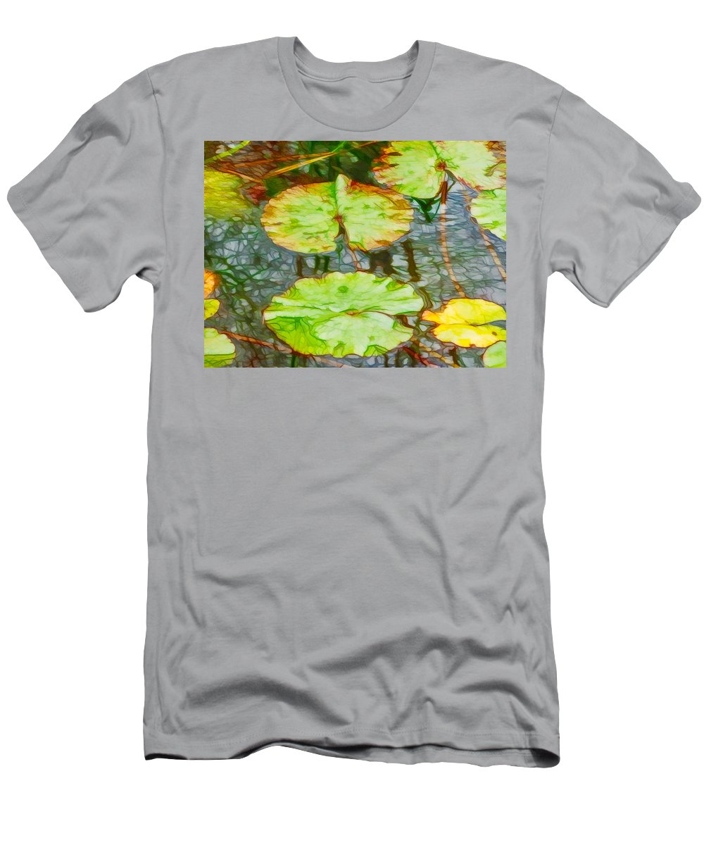 Abstract Men's T-Shirt (Athletic Fit) featuring the painting Lotus Flowers Leaves by Jeelan Clark