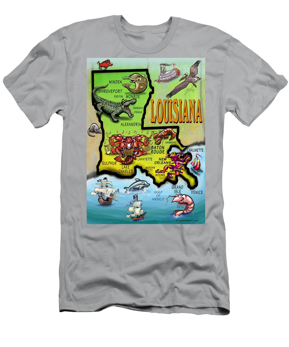 Louisiana Men's T-Shirt (Athletic Fit) featuring the digital art Louisiana Cartoon Map by Kevin Middleton