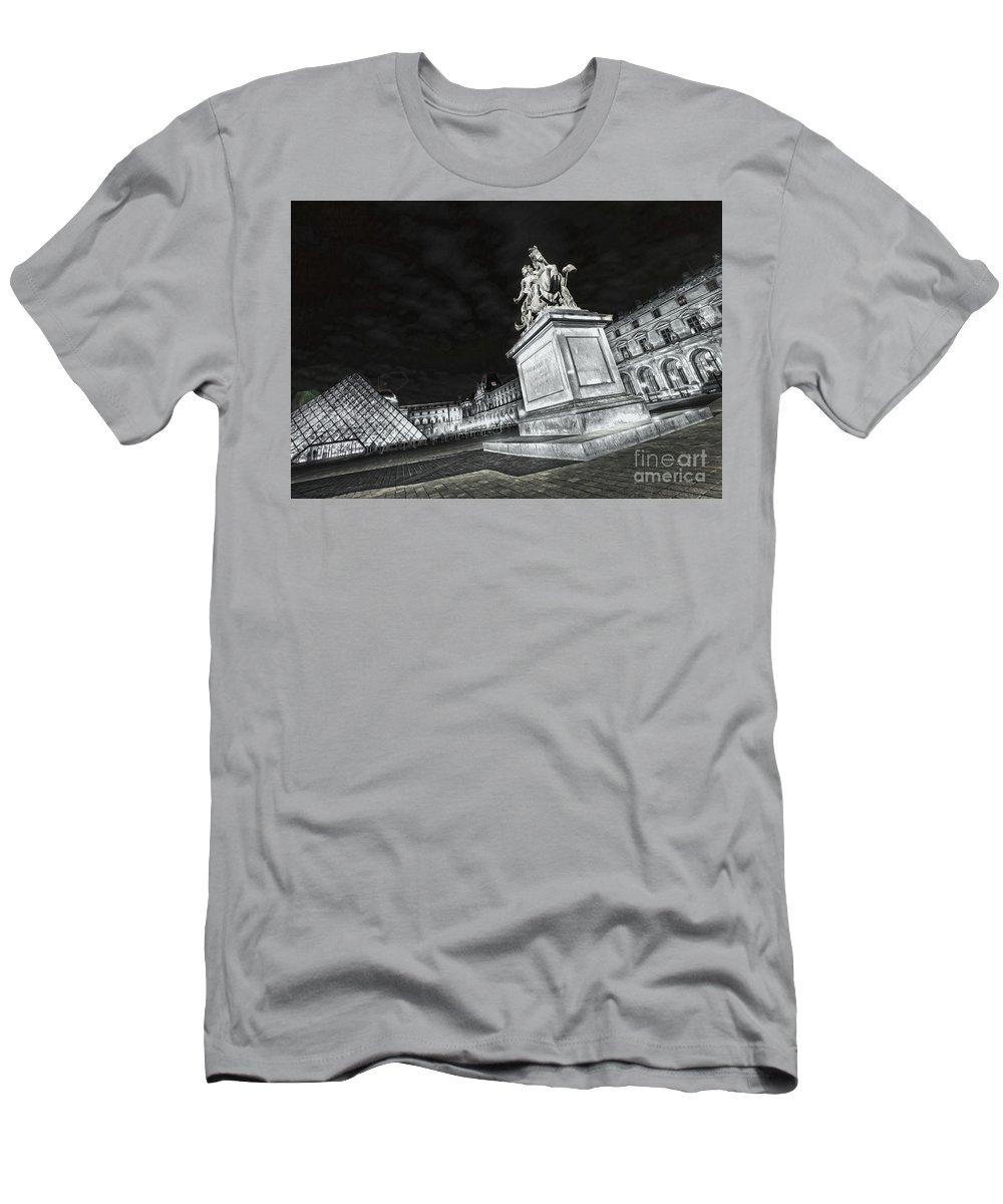 Paris Men's T-Shirt (Athletic Fit) featuring the photograph Louvre Museum 7 Art Bw by Alex Art and Photo