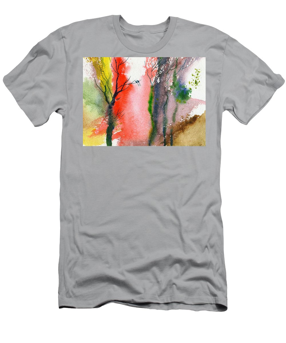 Landscape Men's T-Shirt (Athletic Fit) featuring the painting Love Birds 2 by Anil Nene