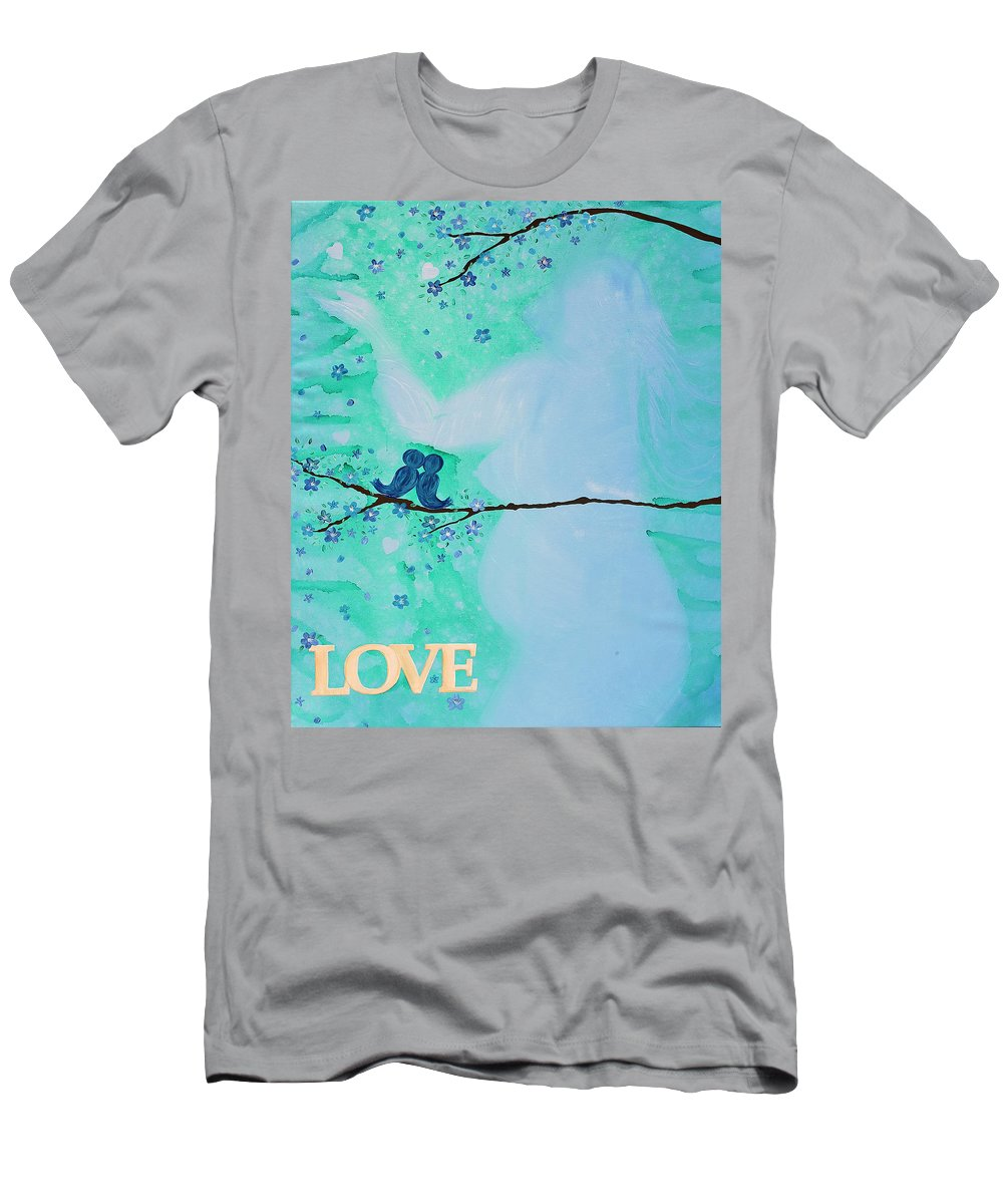 Body Prints Painting Men's T-Shirt (Athletic Fit) featuring the painting Love Birds In Blue Maternity by April Kasper