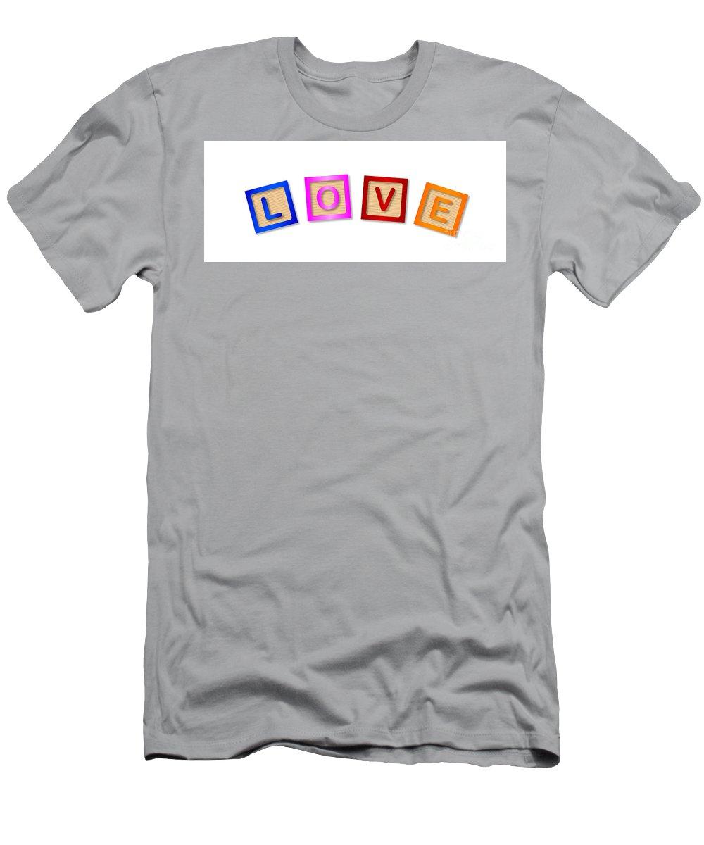 Love T-Shirt featuring the digital art Love Blocks by Bigalbaloo Stock