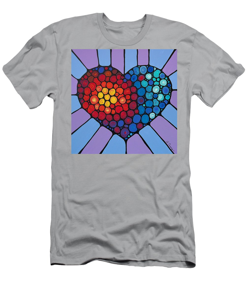 Heart Men's T-Shirt (Athletic Fit) featuring the painting Love Conquers All by Sharon Cummings