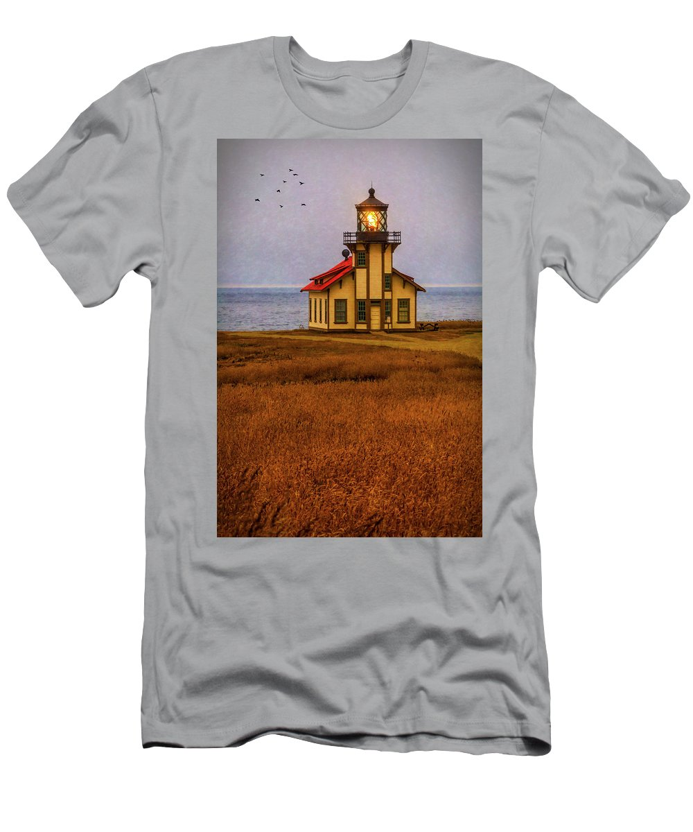 Point Carrillo Light Station Men's T-Shirt (Athletic Fit) featuring the photograph Lovely Point Cabrillo Light Station by Garry Gay