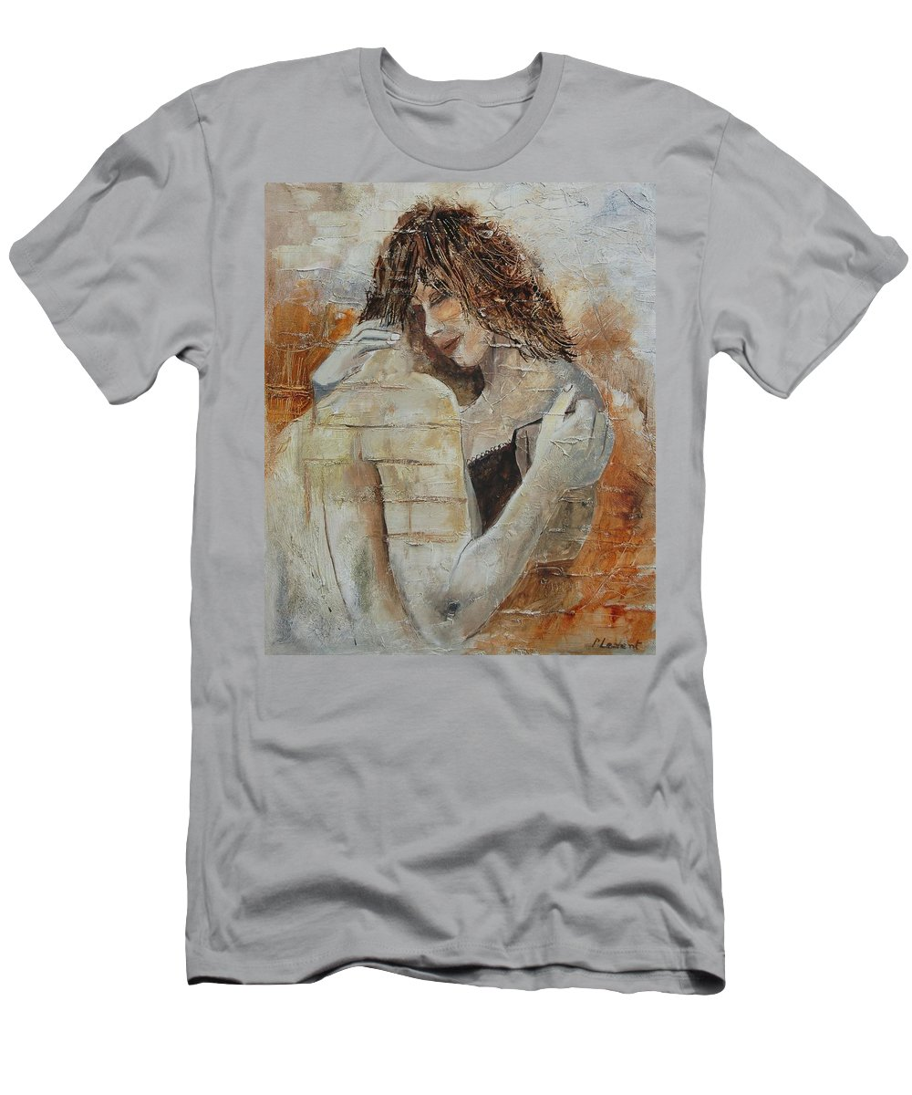 Girl Men's T-Shirt (Athletic Fit) featuring the painting Loving Couple by Pol Ledent
