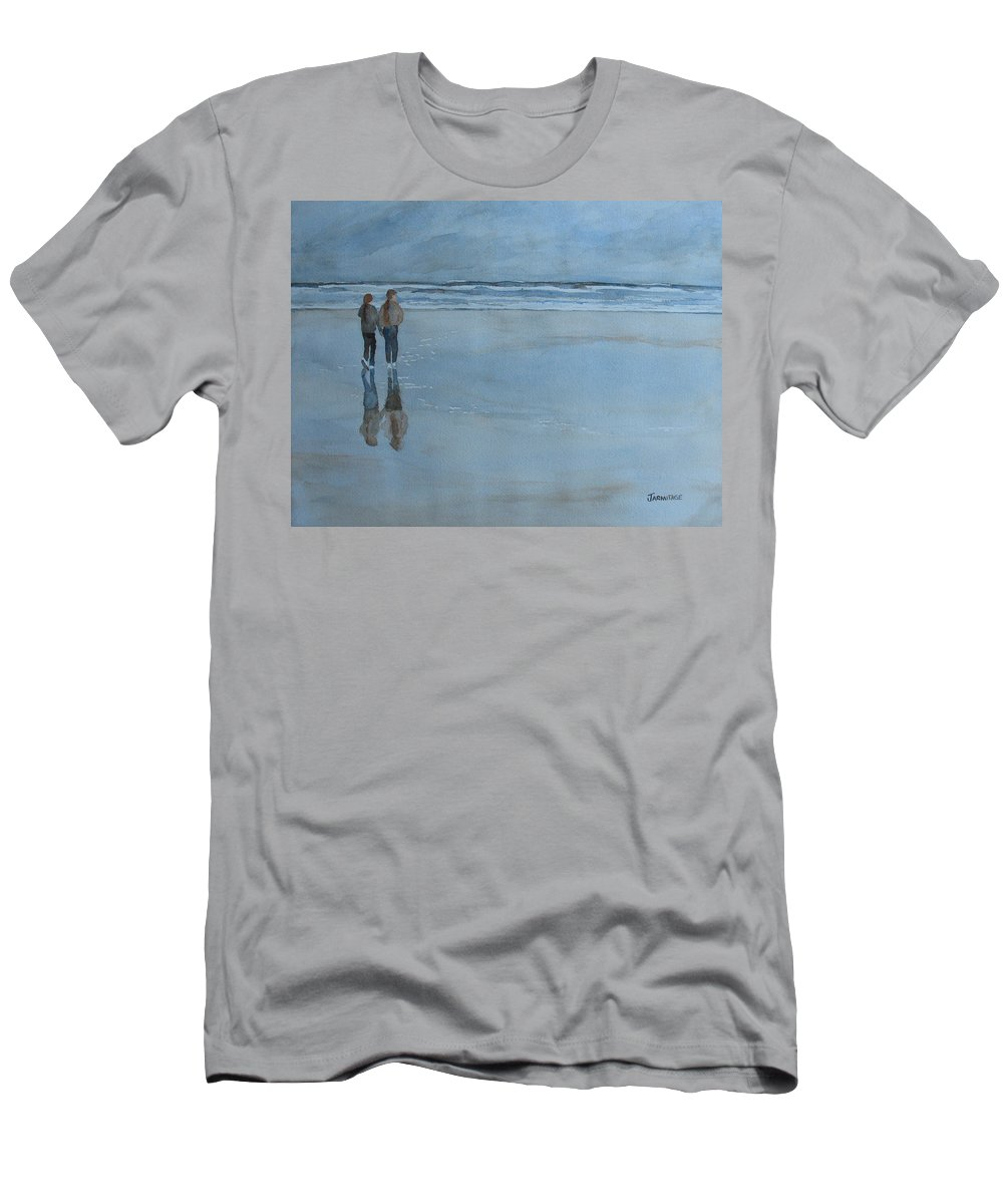 Girls Men's T-Shirt (Athletic Fit) featuring the painting Low Tide At Agate Beach by Jenny Armitage