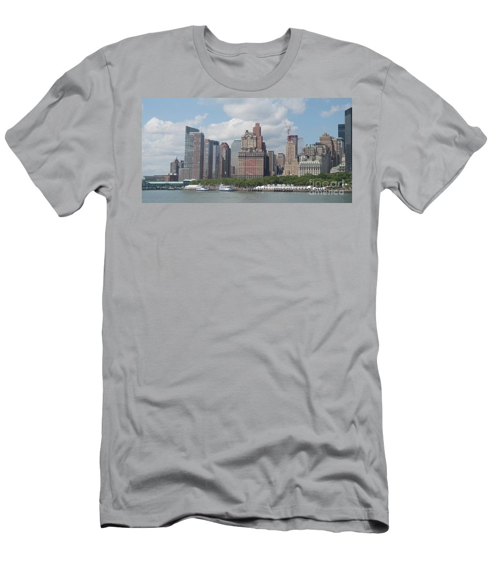 New York Men's T-Shirt (Athletic Fit) featuring the photograph Lower Manhattan Panorama by Thomas Marchessault