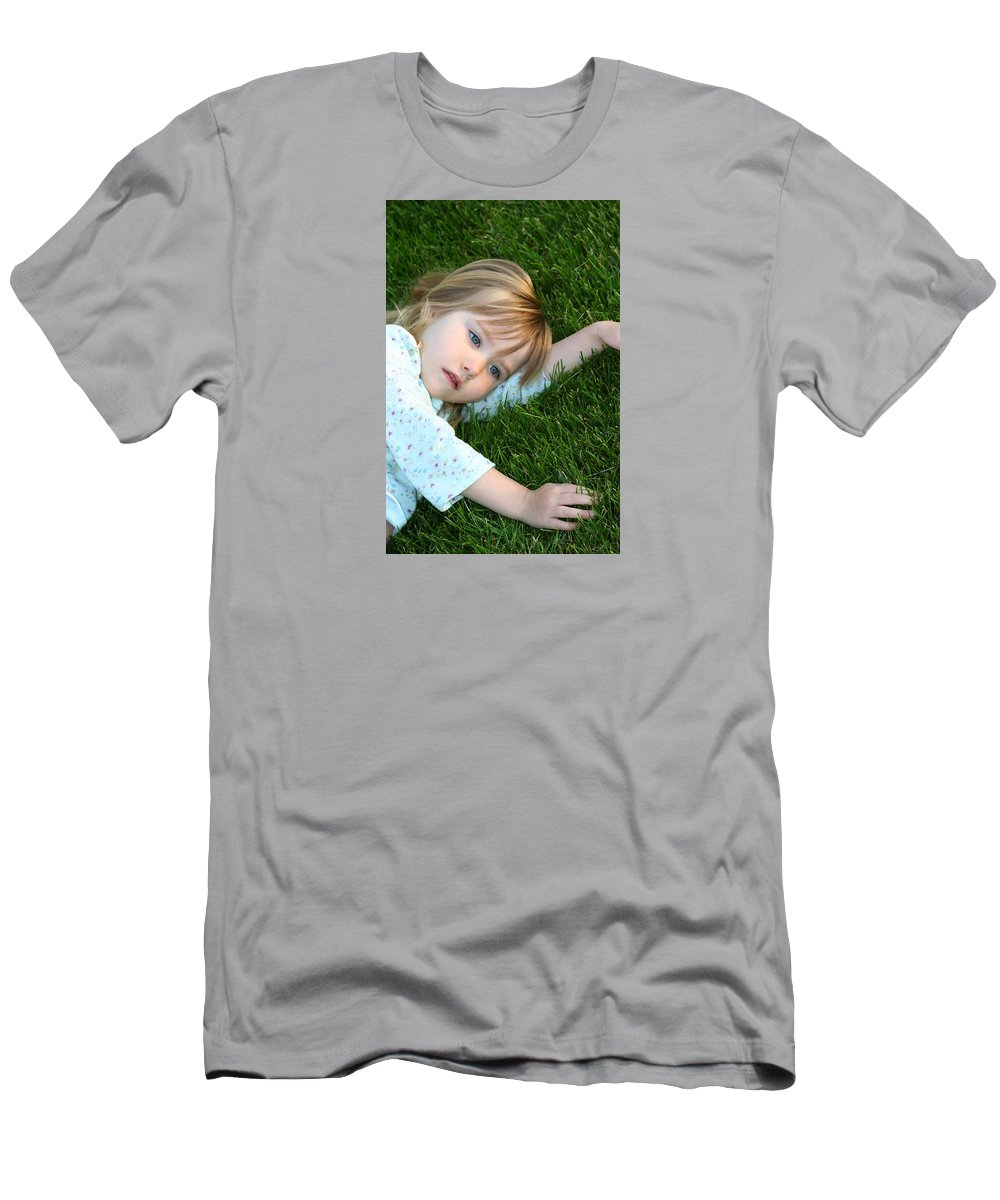 Girl T-Shirt featuring the photograph Lying in the Grass by Margie Wildblood