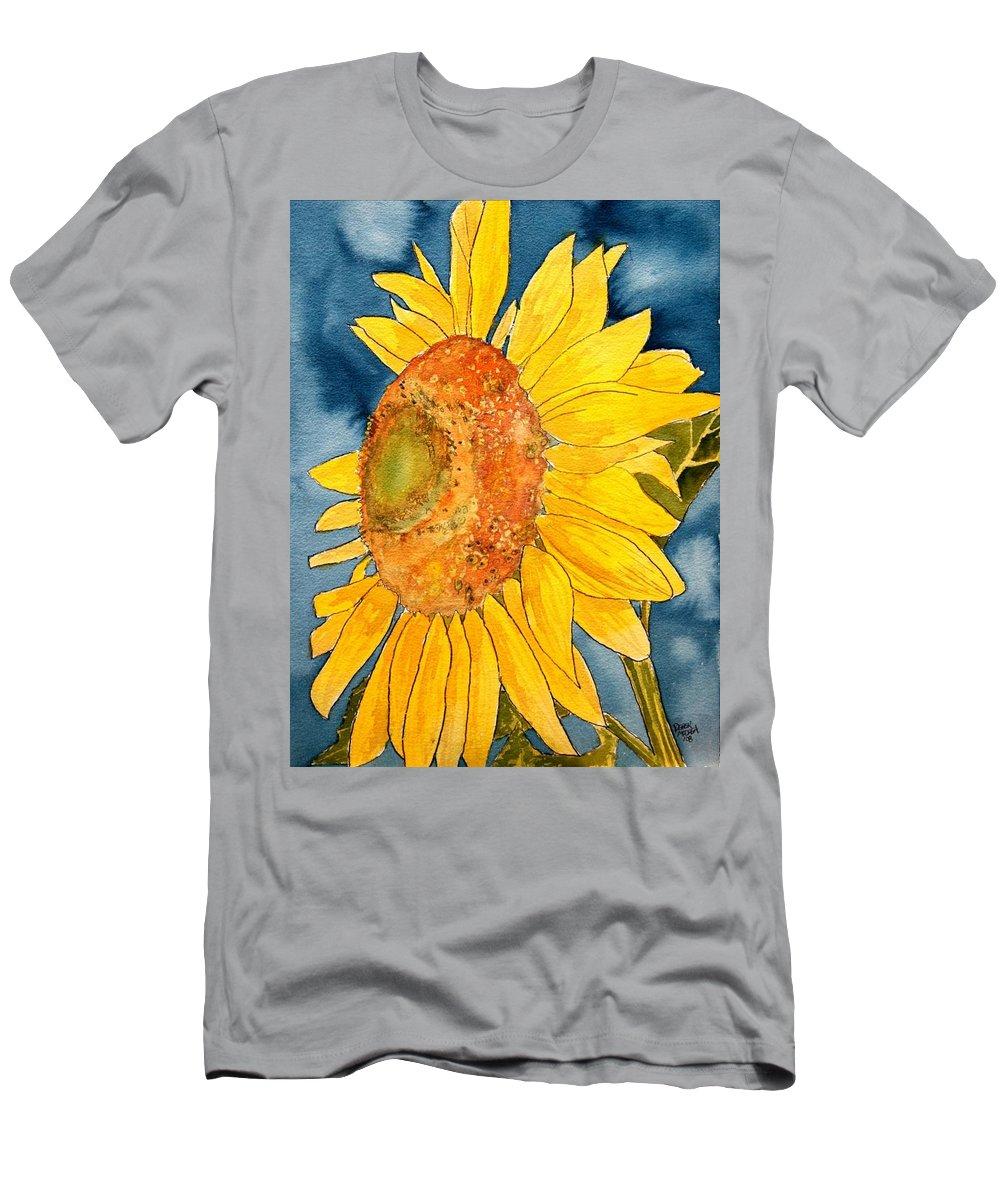 Sunflower T-Shirt featuring the painting Macro Sunflower Art by Derek Mccrea