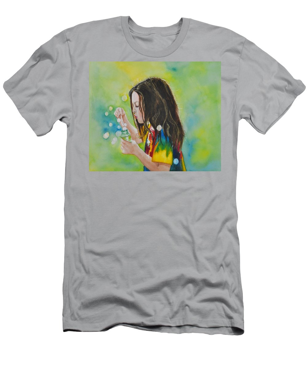 Child Portrait Men's T-Shirt (Athletic Fit) featuring the painting Madison by Terry Arroyo Mulrooney