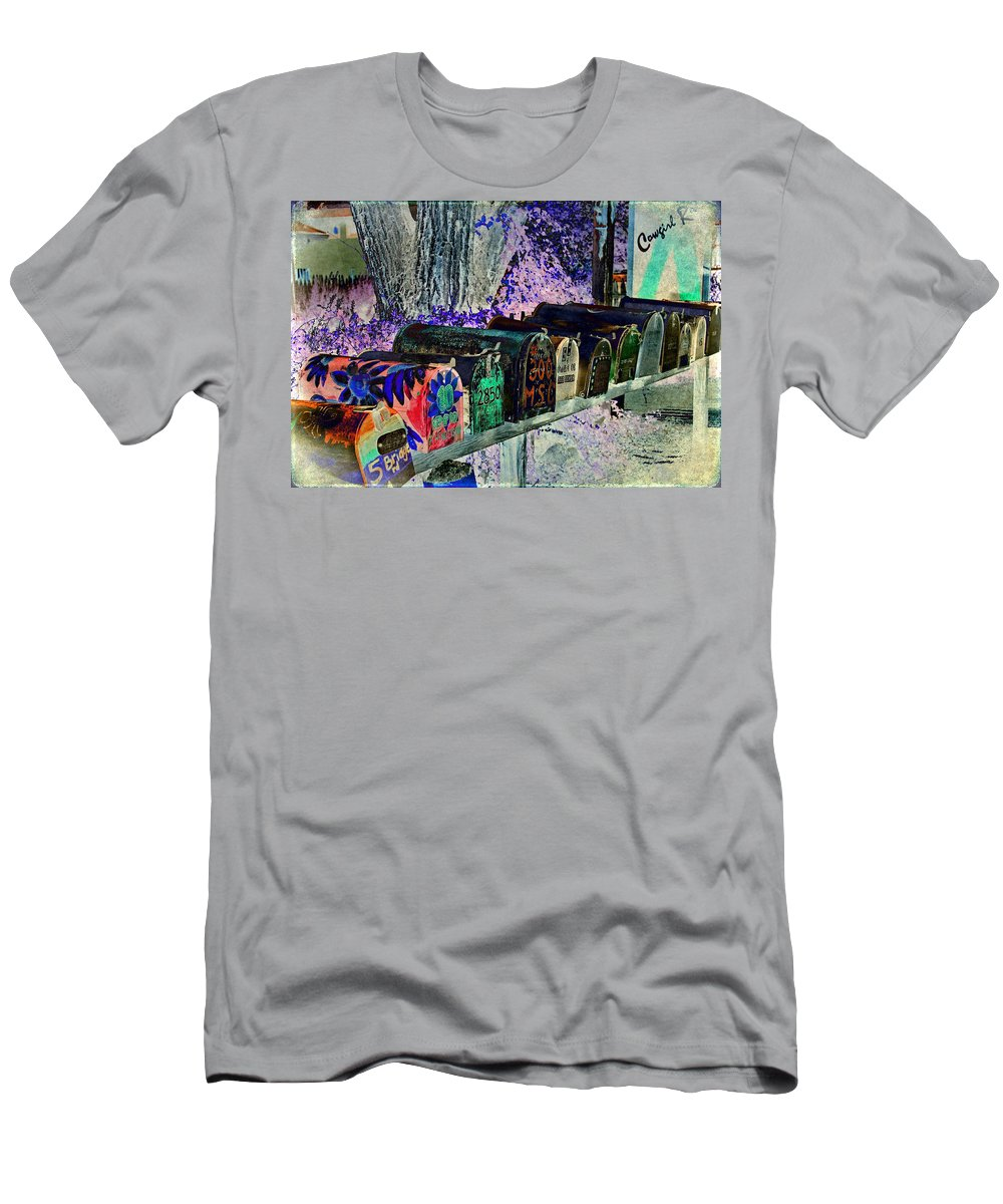 Still Life Men's T-Shirt (Athletic Fit) featuring the photograph Madrid Mailboxes by Jill Smith