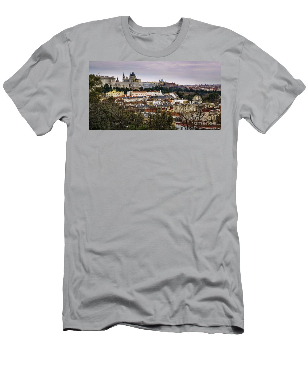 Spain Men's T-Shirt (Athletic Fit) featuring the photograph Madrid Panorama From Debod Lookout Madrid Spain by Pablo Avanzini