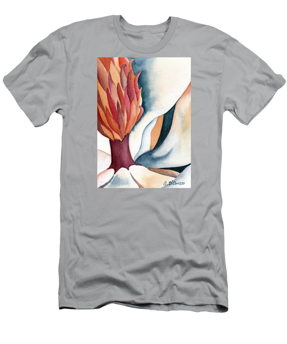 Magnolia Watercolor Men's T-Shirt (Athletic Fit) featuring the painting Magnolia Close-up I by Anna D'Amico