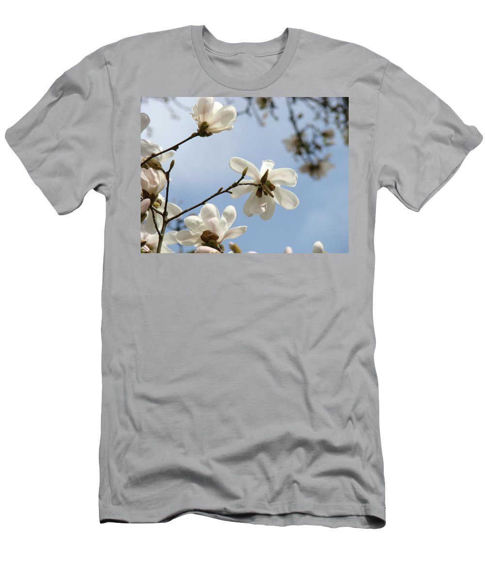 Magnolia Men's T-Shirt (Athletic Fit) featuring the photograph Magnolia Flowers White Magnolia Tree Spring Flowers Artwork Blue Sky by Baslee Troutman
