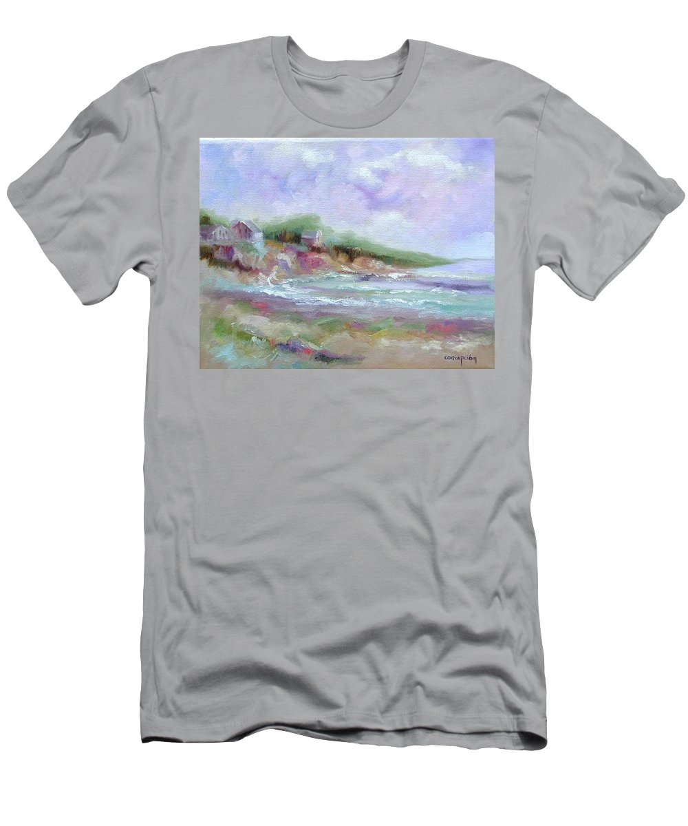 Maine Coastline Men's T-Shirt (Athletic Fit) featuring the painting Maine Coastline by Ginger Concepcion