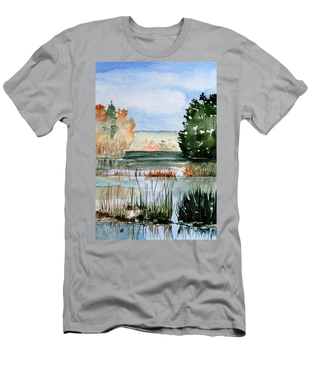 Watercolor Men's T-Shirt (Athletic Fit) featuring the painting Maine Fall Reflections by Brenda Owen