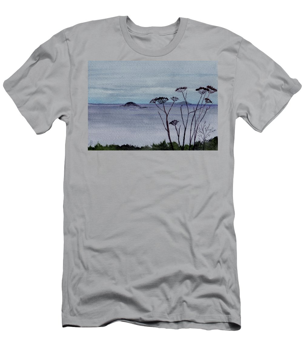 Landscape Watercolor Sea Ocean Sky Cloudy Flower Weed Men's T-Shirt (Athletic Fit) featuring the painting Maine Moody Distance by Brenda Owen