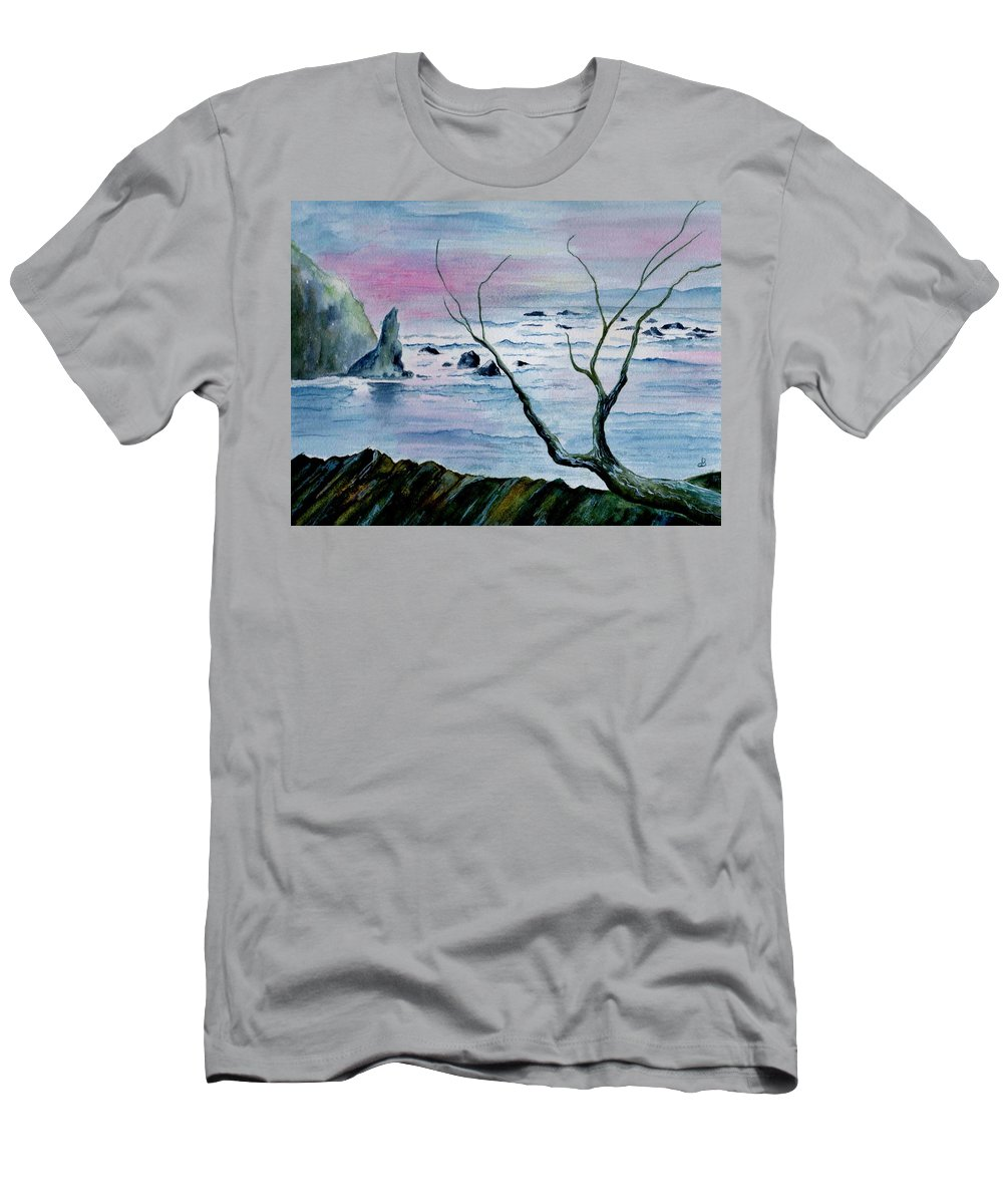 Watercolor Men's T-Shirt (Athletic Fit) featuring the painting Maine Seawatch by Brenda Owen