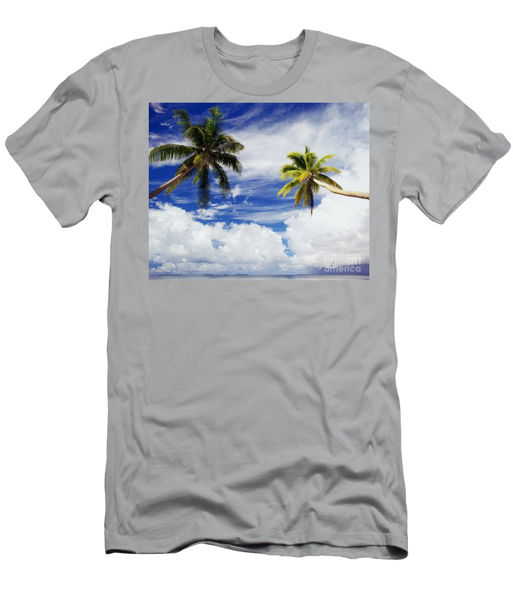 Afternoon Men's T-Shirt (Athletic Fit) featuring the photograph Majuro Atoll, Two Coconut Trees Lean Over by Mitch Warner - Printscapes