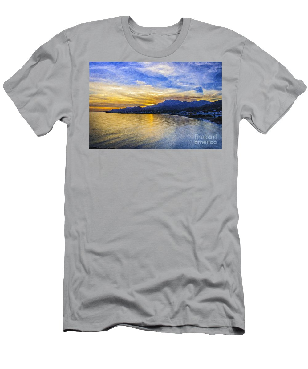 Makry Men's T-Shirt (Athletic Fit) featuring the painting Makrygialos Sunset Digital Painting by Antony McAulay