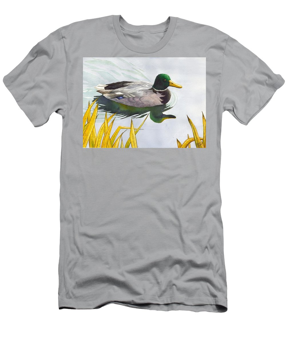 Duck Men's T-Shirt (Athletic Fit) featuring the painting Mallard by Catherine G McElroy