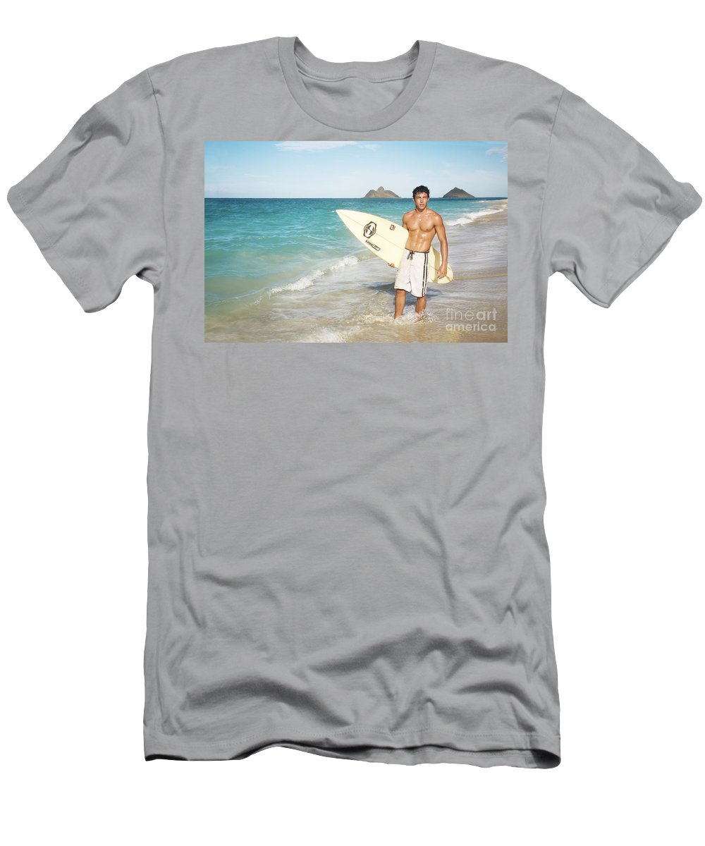 Active Men's T-Shirt (Athletic Fit) featuring the photograph Man At The Beach With Surfboard by Brandon Tabiolo - Printscapes