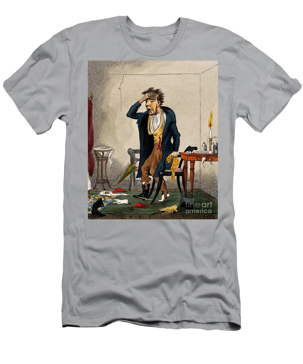 Historic Men's T-Shirt (Athletic Fit) featuring the photograph Man With Excruciating Headache, 1835 by Wellcome Images