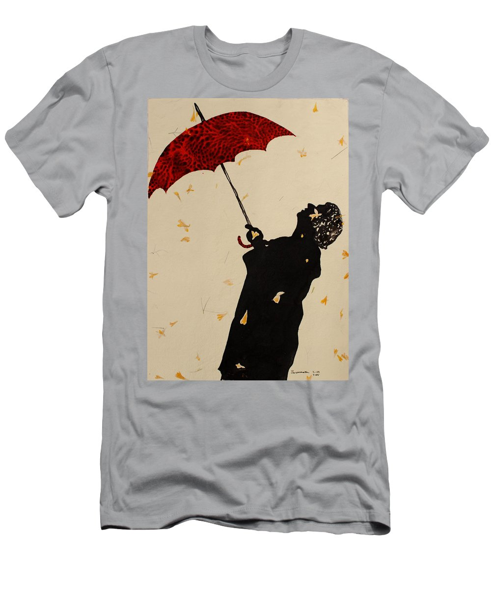 Man Men's T-Shirt (Athletic Fit) featuring the painting Man With Red Umbrella  by Santhosh Ch