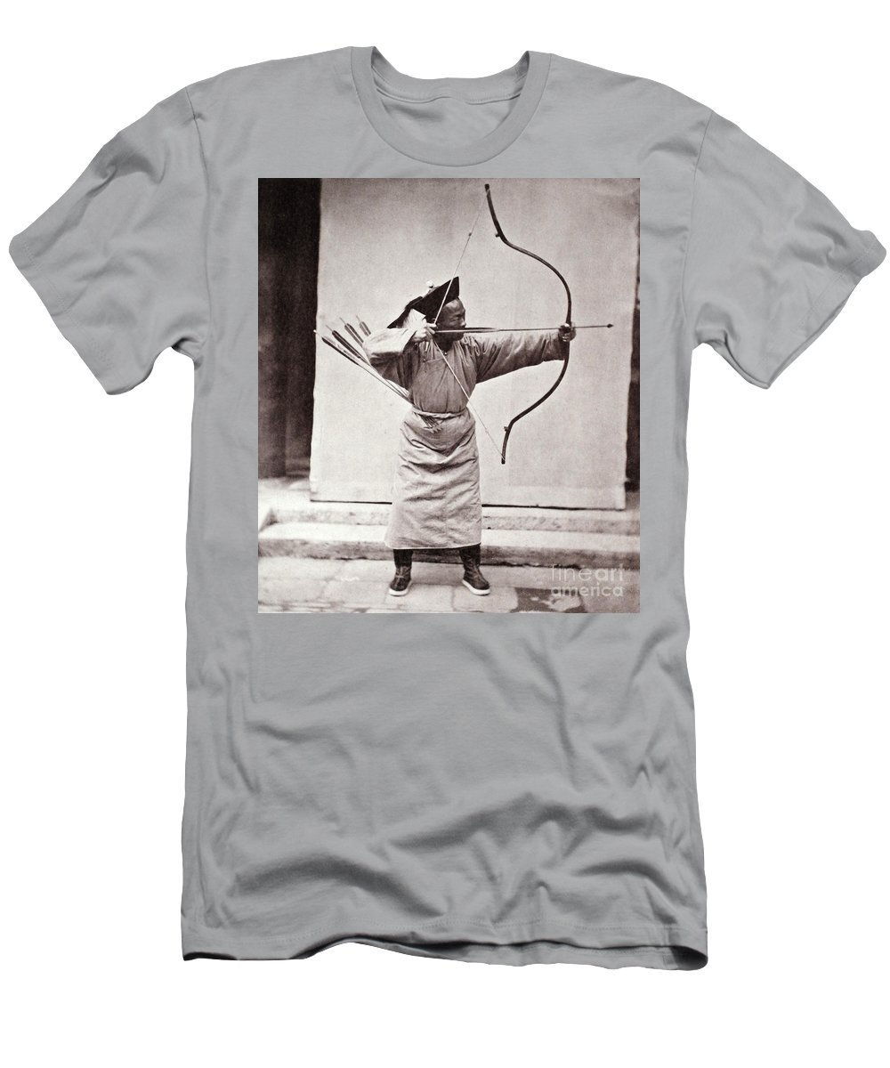 Historic Men's T-Shirt (Athletic Fit) featuring the photograph Manchu Archer, 1874 by Wellcome Images