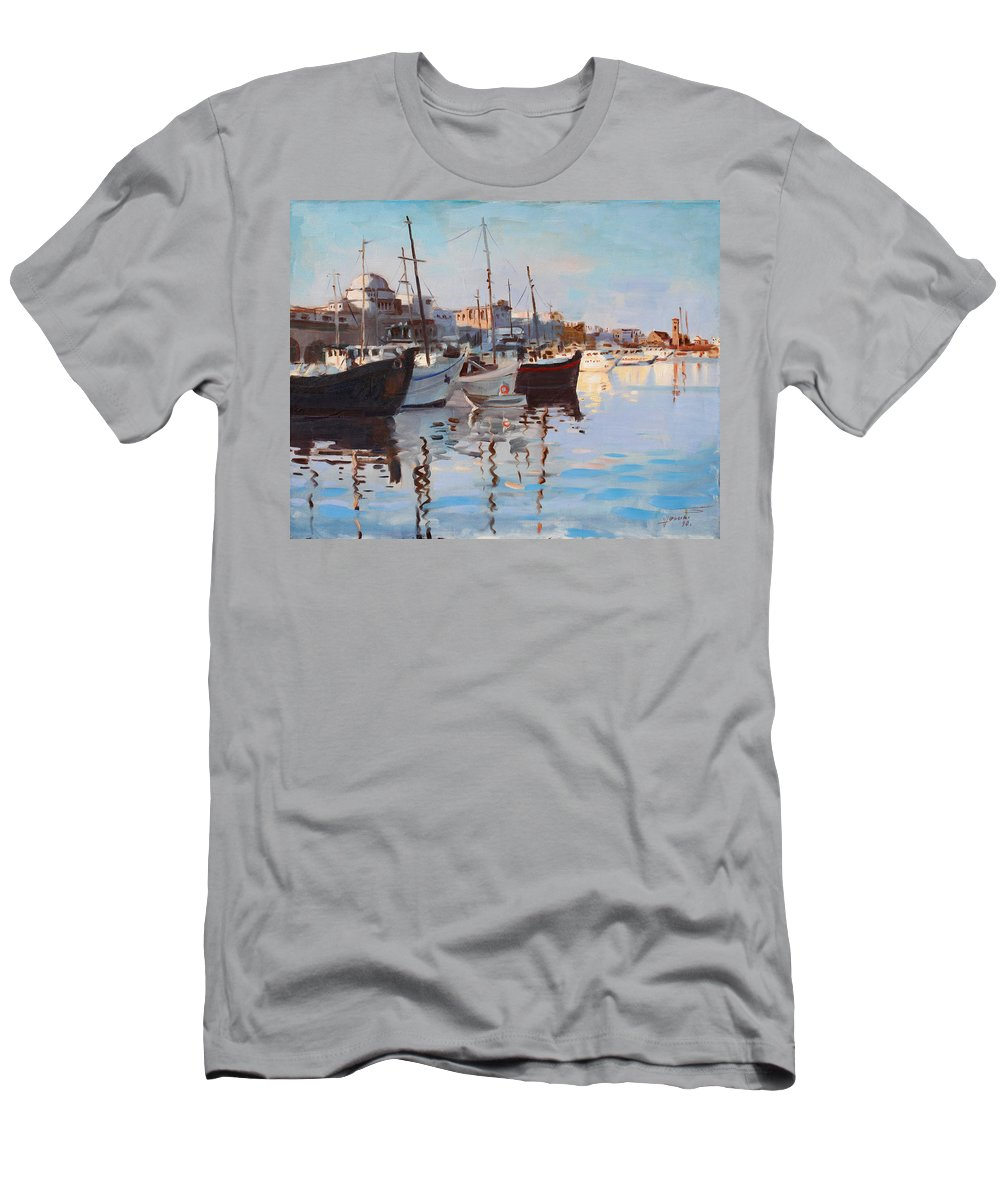 Rhodes Island Greece Men's T-Shirt (Athletic Fit) featuring the painting Mandraqi Rhodes Greece by Ylli Haruni