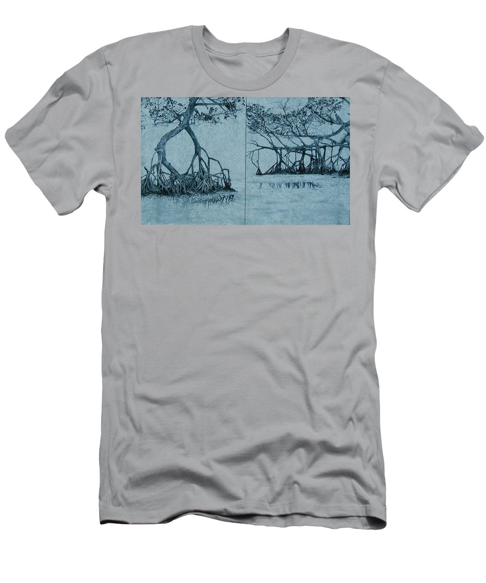 Blue Men's T-Shirt (Athletic Fit) featuring the painting Mangroves by Leah Tomaino