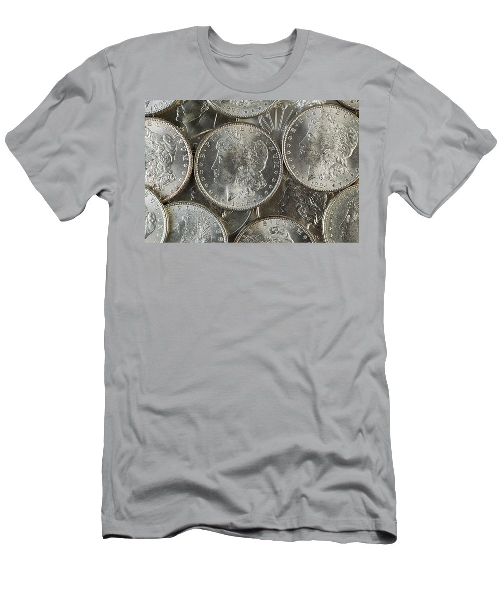 Silver Men's T-Shirt (Athletic Fit) featuring the photograph Many American Silver Dollars by Thomas Baker