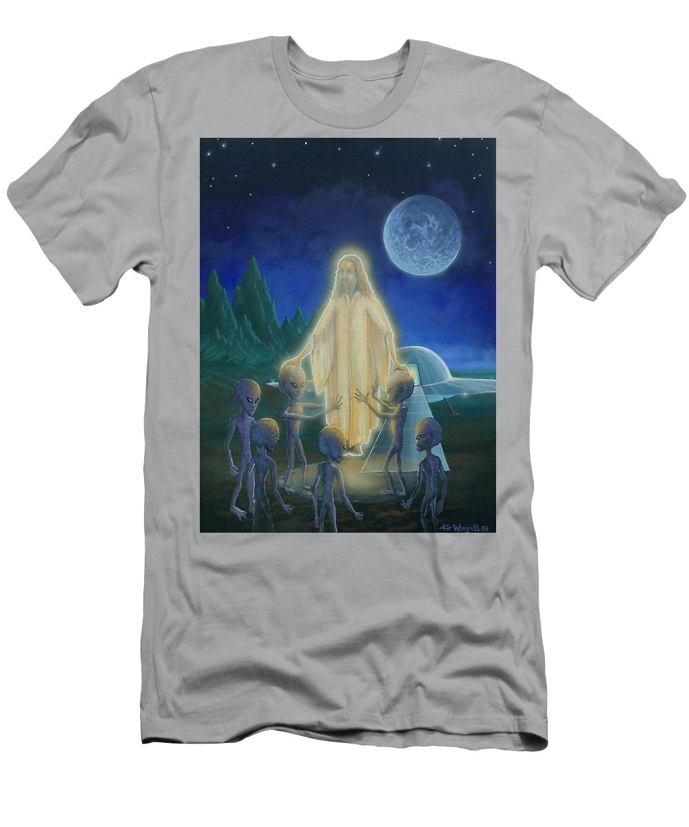 Men's T-Shirt (Athletic Fit) featuring the painting Many Mansions by Kip Worrell