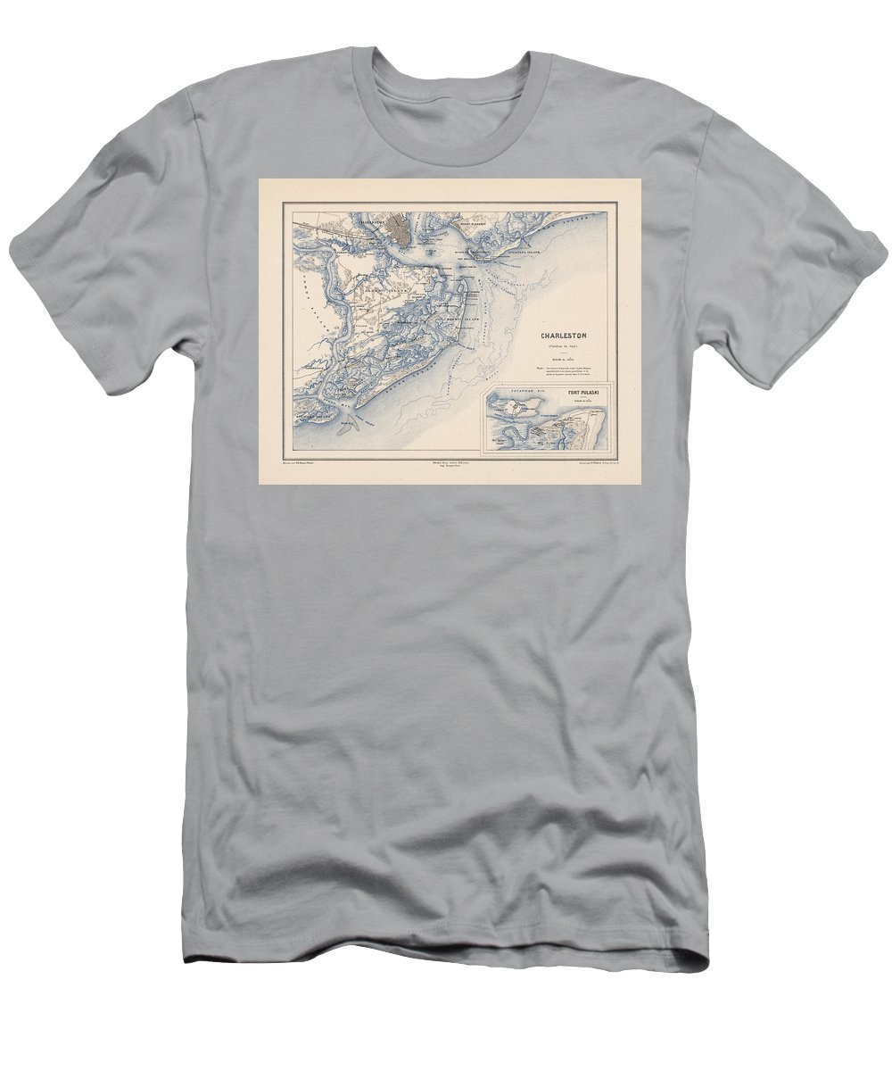 Vintage 1875 Map Of Charleston Men's T-Shirt (Athletic Fit) featuring the painting Map Of Charleston by MotionAge Designs