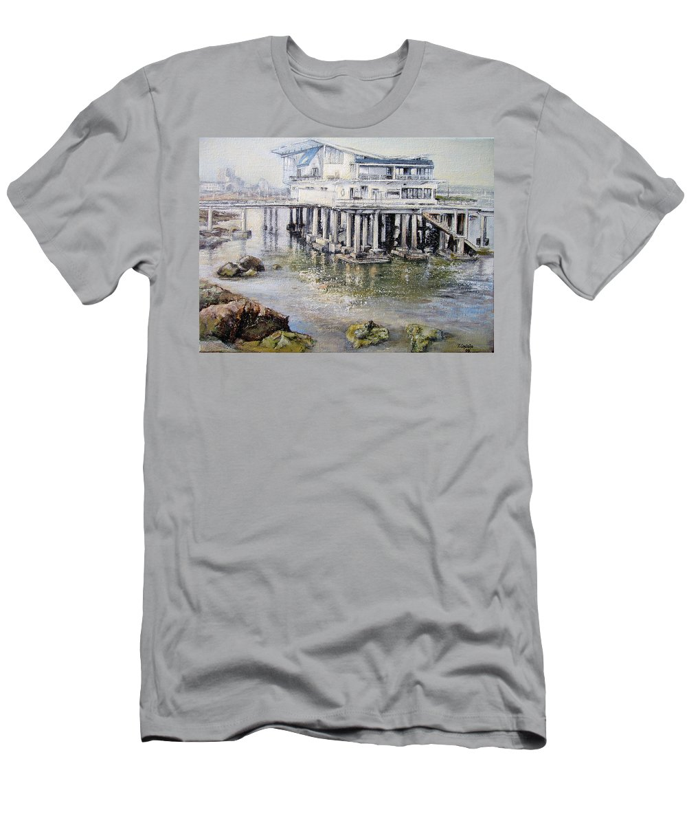 Maritim T-Shirt featuring the painting Maritim Club Castro Urdiales by Tomas Castano