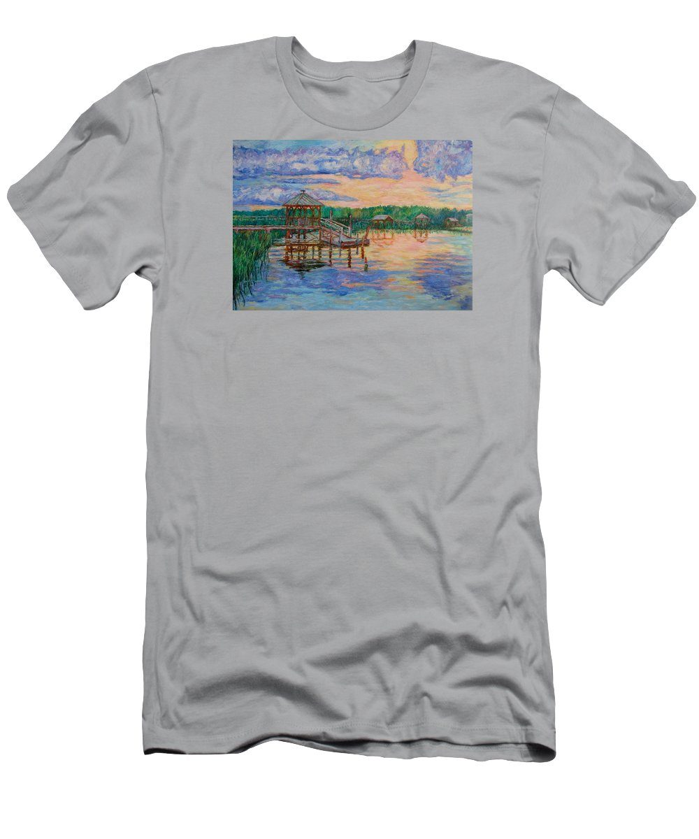 Landscape Men's T-Shirt (Athletic Fit) featuring the painting Marsh View At Pawleys Island by Kendall Kessler